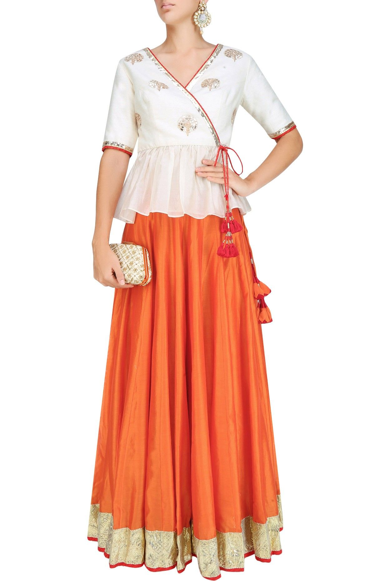 Ivory dori thread embroidered open peplum style choli with bright ...