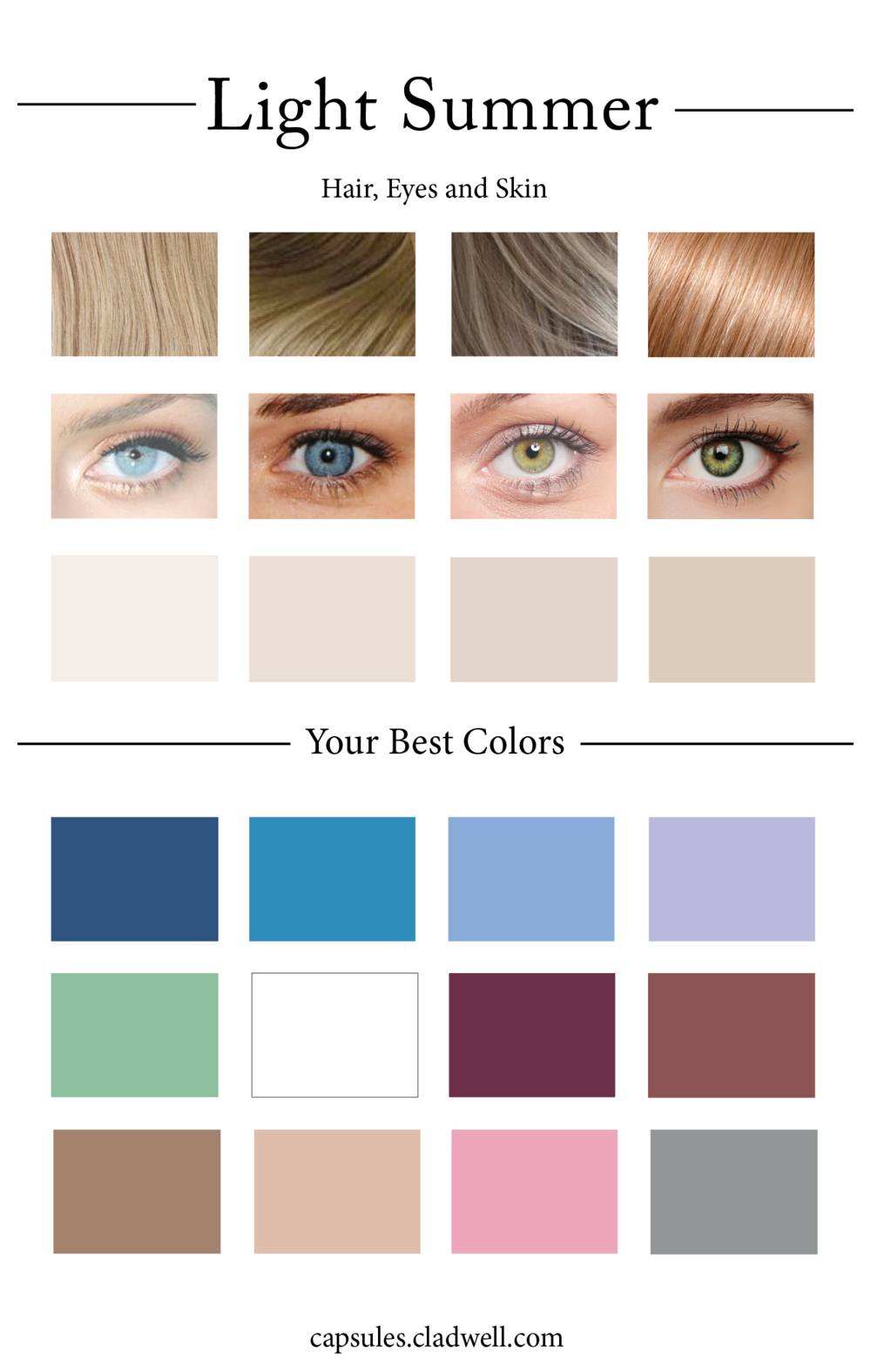 When Creating A Capsule Wardrobe Picking Out A Cohesive Color Palette Is One Of The Most Helpful Thin Light Summer Color Palette Skin Color Palette Color Quiz