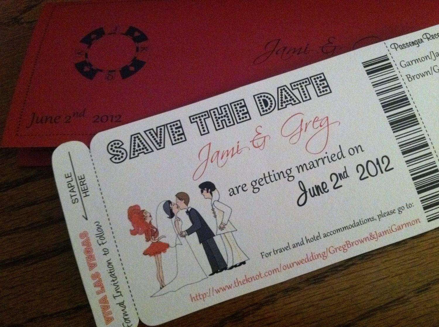 Sample - Elvis and Dancer Las Vegas Boarding Pass Save the Date or ...
