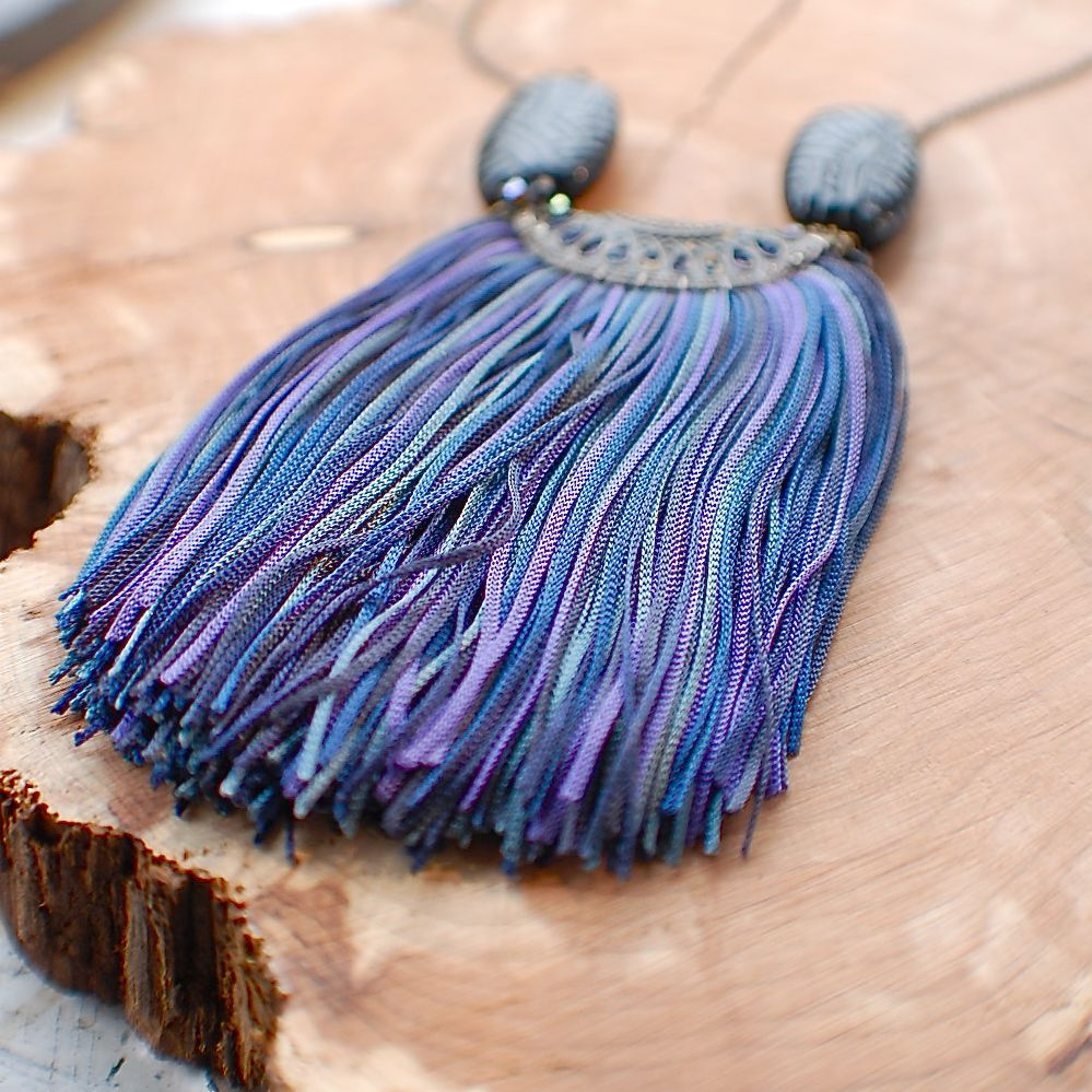 Vintage Tassel Necklace – Blue by Mimi Scholer