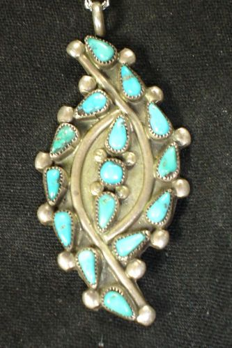 Old Zuni Sterling Silver Turquoise Pettipoint Necklace Native American Dead Pawn