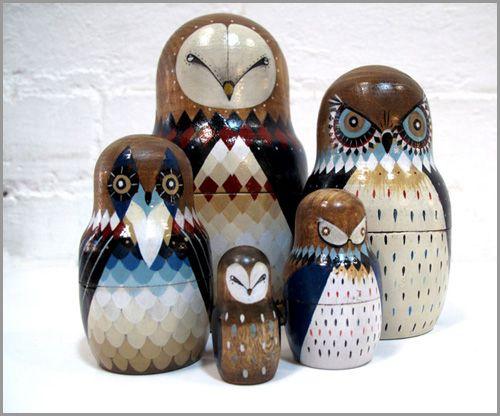 Owl Decor Owl Nesting Egg 4.25/'/'//11cm Handmade Nesting Doll 5 pcs