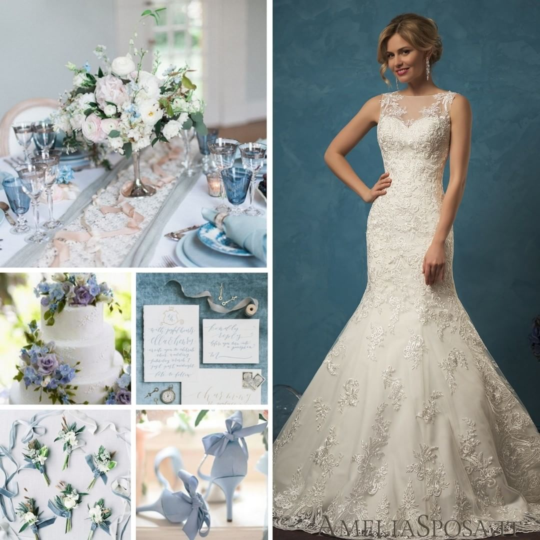 Wedding gown color blue  Wedding in a romantic blue color is so light and dreamy that it