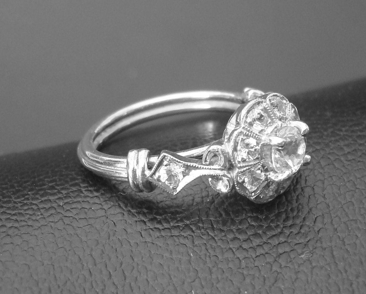 Gold Ring, Pure Natural White Ceylon Sapphires Handmade Art Deco Engagement  Ring P034