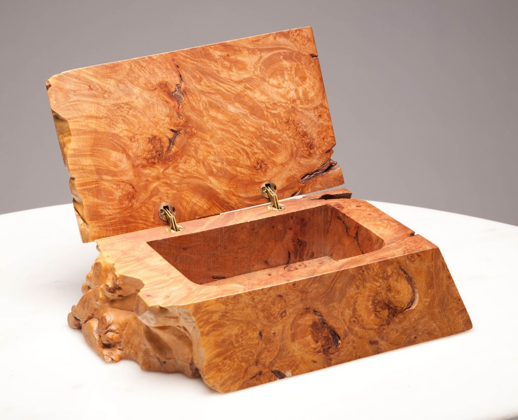 American Craft Studio Burl Wood Jewelry Box by Michael Elkan