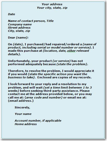 Received Your Letter Complaint Sample Below Landlord Free Word Pdf