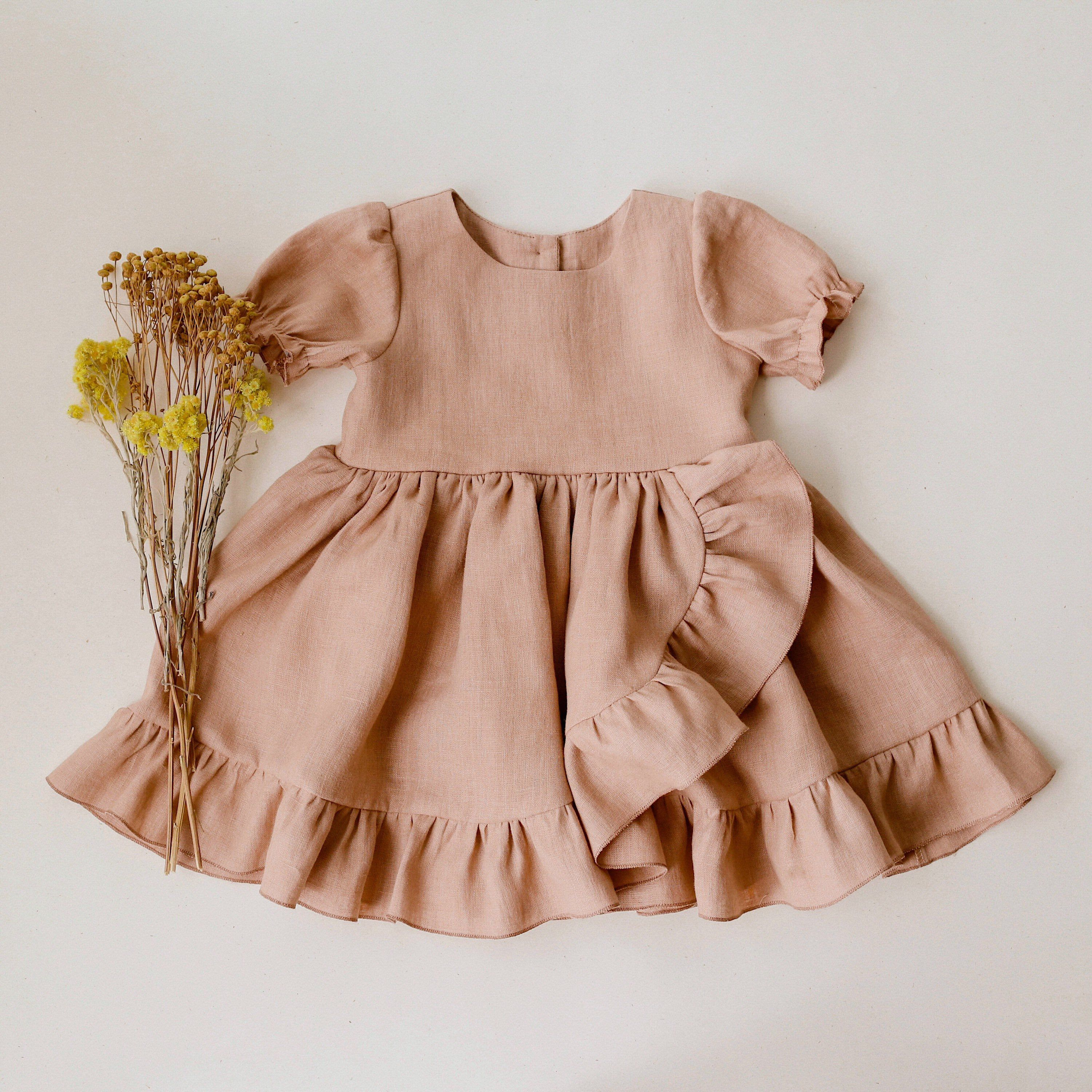 Clay Linen Dress with Ruffle Skirt CHOICE OF COLORS  Etsy  Baby
