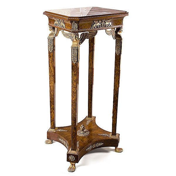 Great Classic French Carved Wood Pedestal Column,Table Base,Marble Top,20.5u0027u0027 X  50u0027u0027H.