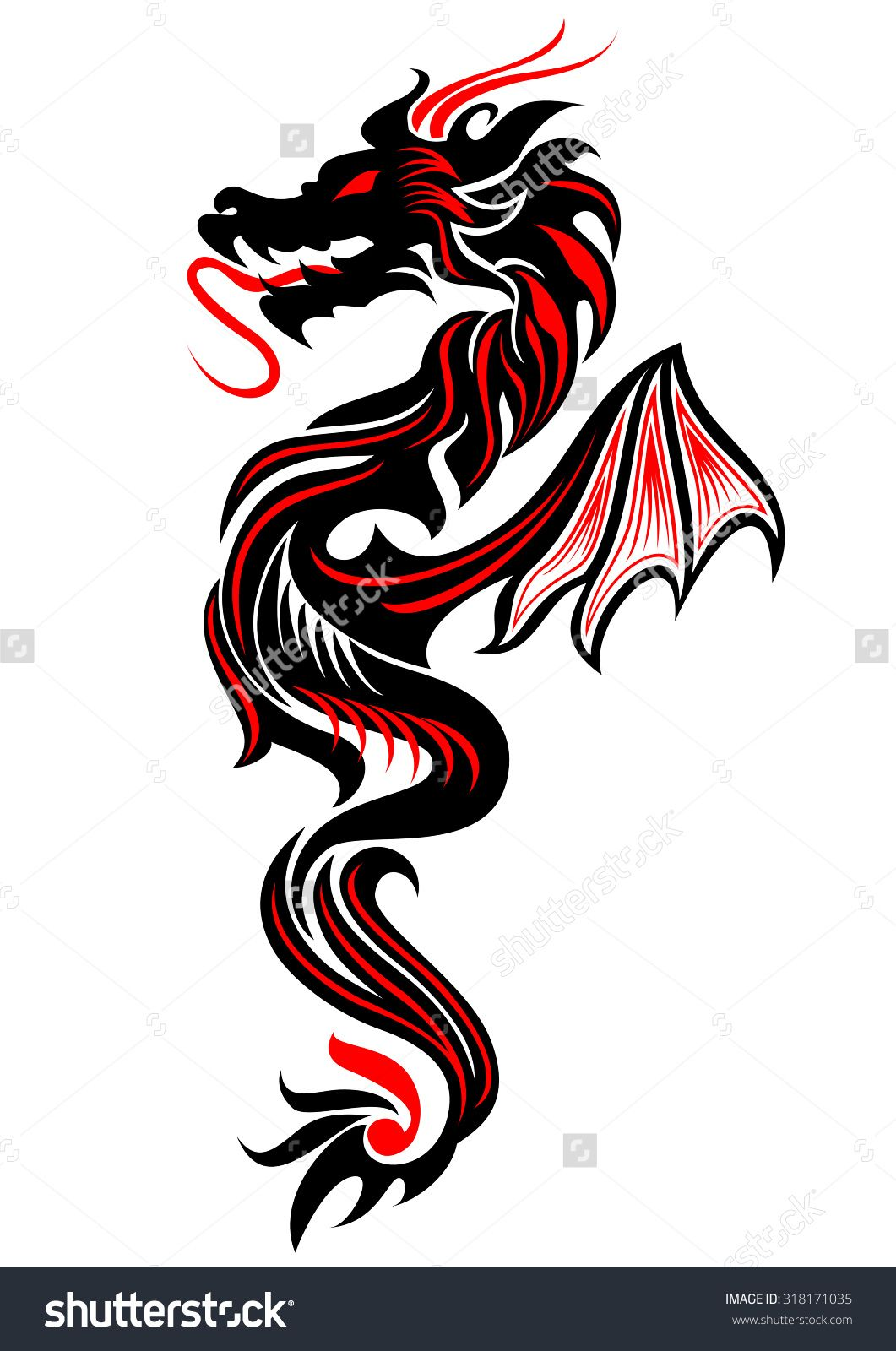 Black And Red Tribal Dragon Tattoo Vector Illustration Dragon Tattoos For Men Dragon Tattoo Vector Red Dragon Tattoo