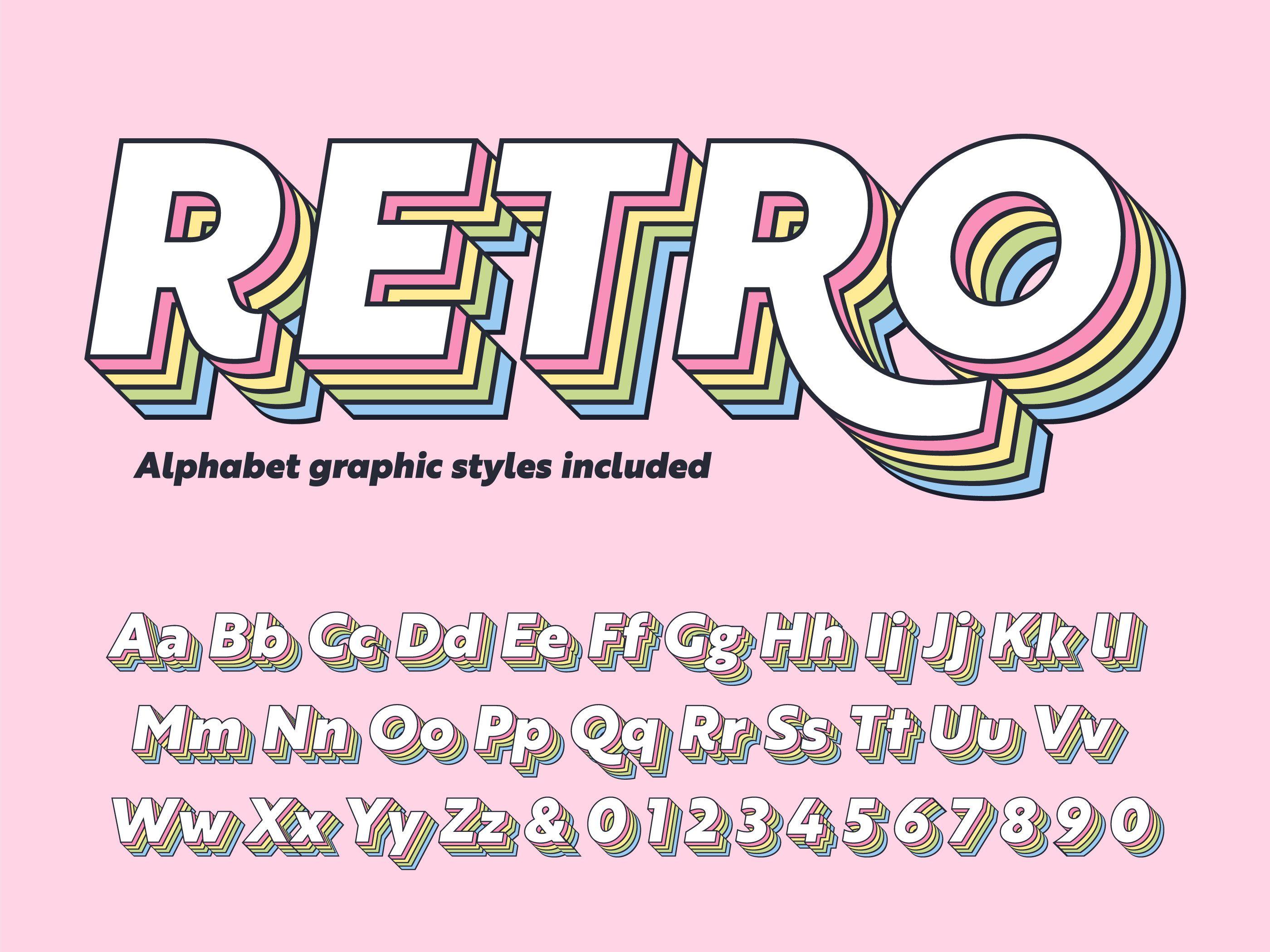 Download Layered Retro Alphabet Vector Vector Art. Choose