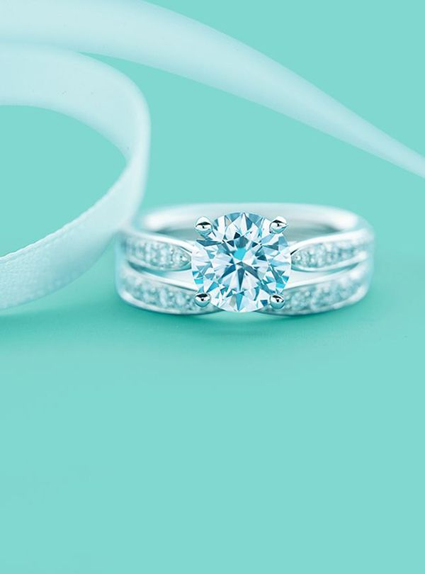 Tiffany S Fancy Wedding Engagement Ring With Bead Set Border And Matching Band