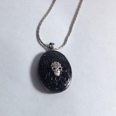 Skull locket gothic romantic skull necklace day of the dead - romantic halloween ideas
