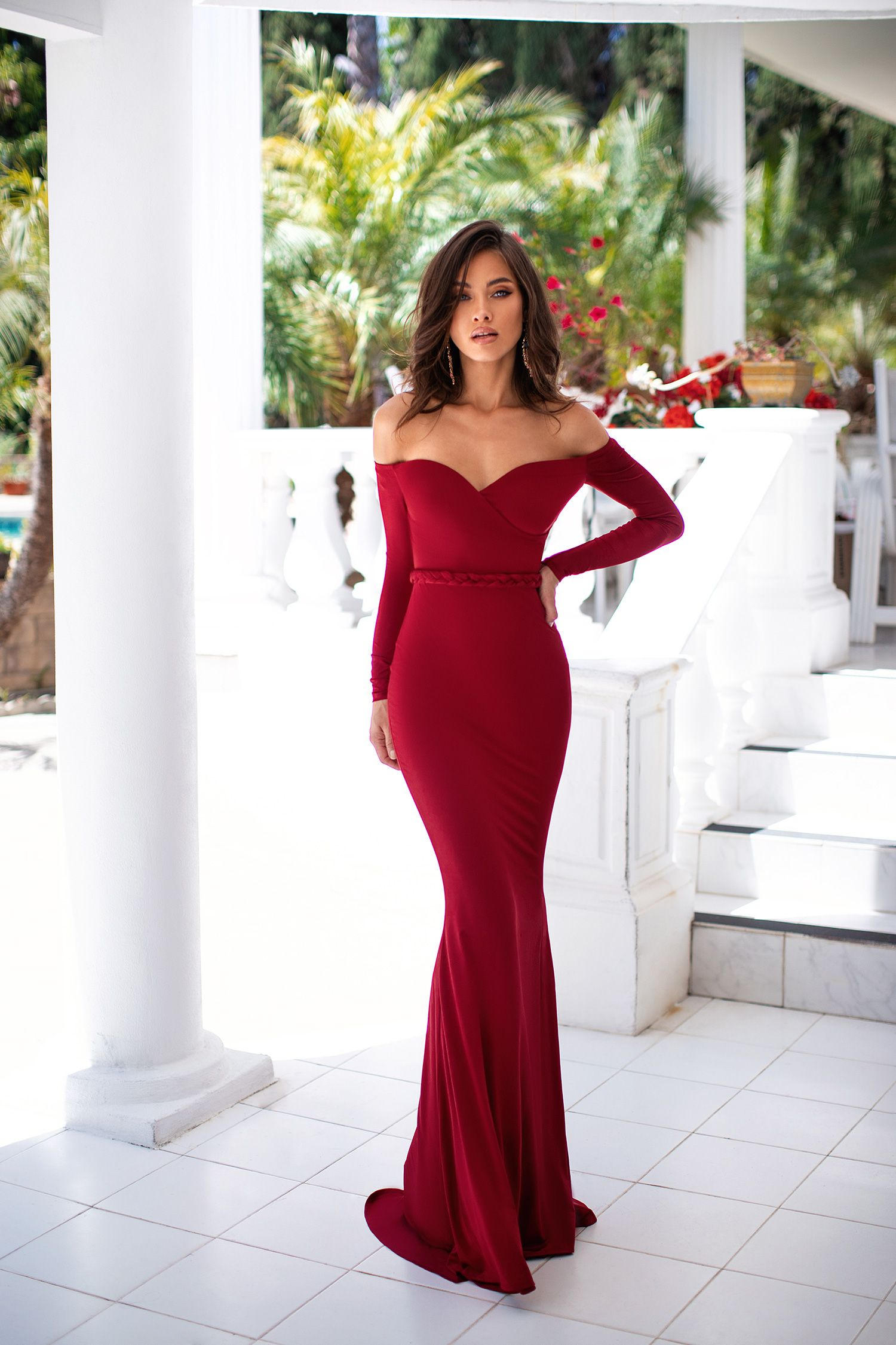 Viola Wine Red Prom Dresses Long With Sleeves Dresses Prom Outfits [ 2250 x 1500 Pixel ]