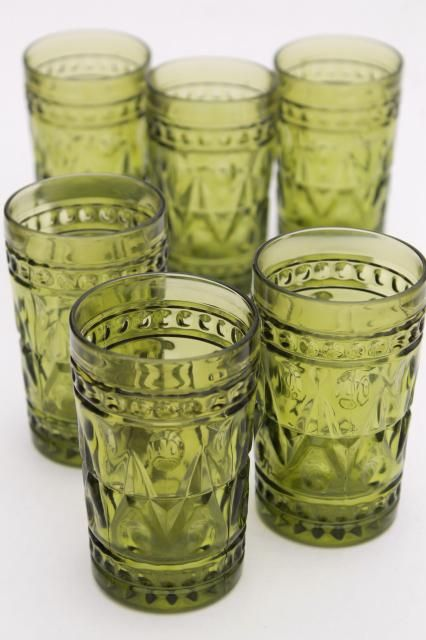 Vintage Avocado Green Glass Tumblers Colony Park Lane Juice Glasses Set Of 6 Glass Glass Tumbler Green Glass