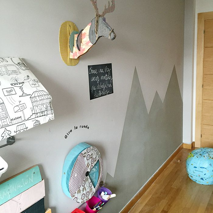 Decoraci n de paredes para ni os monta as de pizarra chalk paint diy pinterest - Pintar pared pizarra ...
