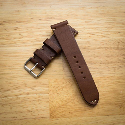 fd1091aaeda Amazon.com  Hannson 24mm 22mm 125 85mm Watch Band Leather with Stainless  Steel Buckle Size Large  Handmade