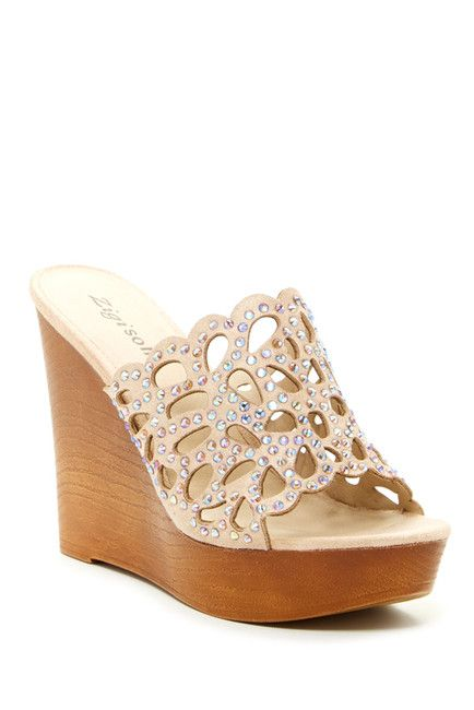 Ziginy Embellished Cutout Wedge Heel Bridal Shower Bachelorette Party Ideas Wedge Heels Shoes Heels
