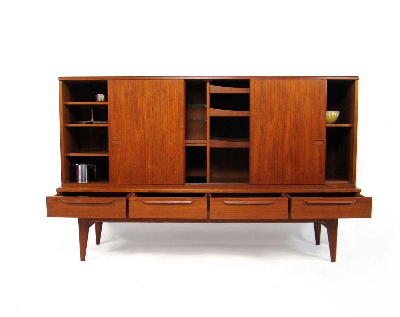 Mid century danish teak highboard sideboard storage 1960 39 s for Danish design mobel