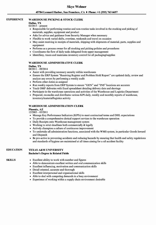 Stocking Job Description Resume Lovely Clerk Warehouse