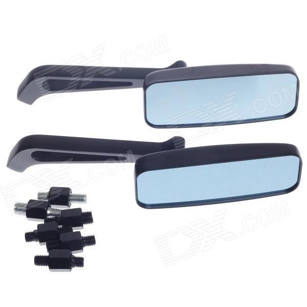 QC-M-012 Universal Motorcycle Rearview Mirror w/ Light Blue Glass - Black