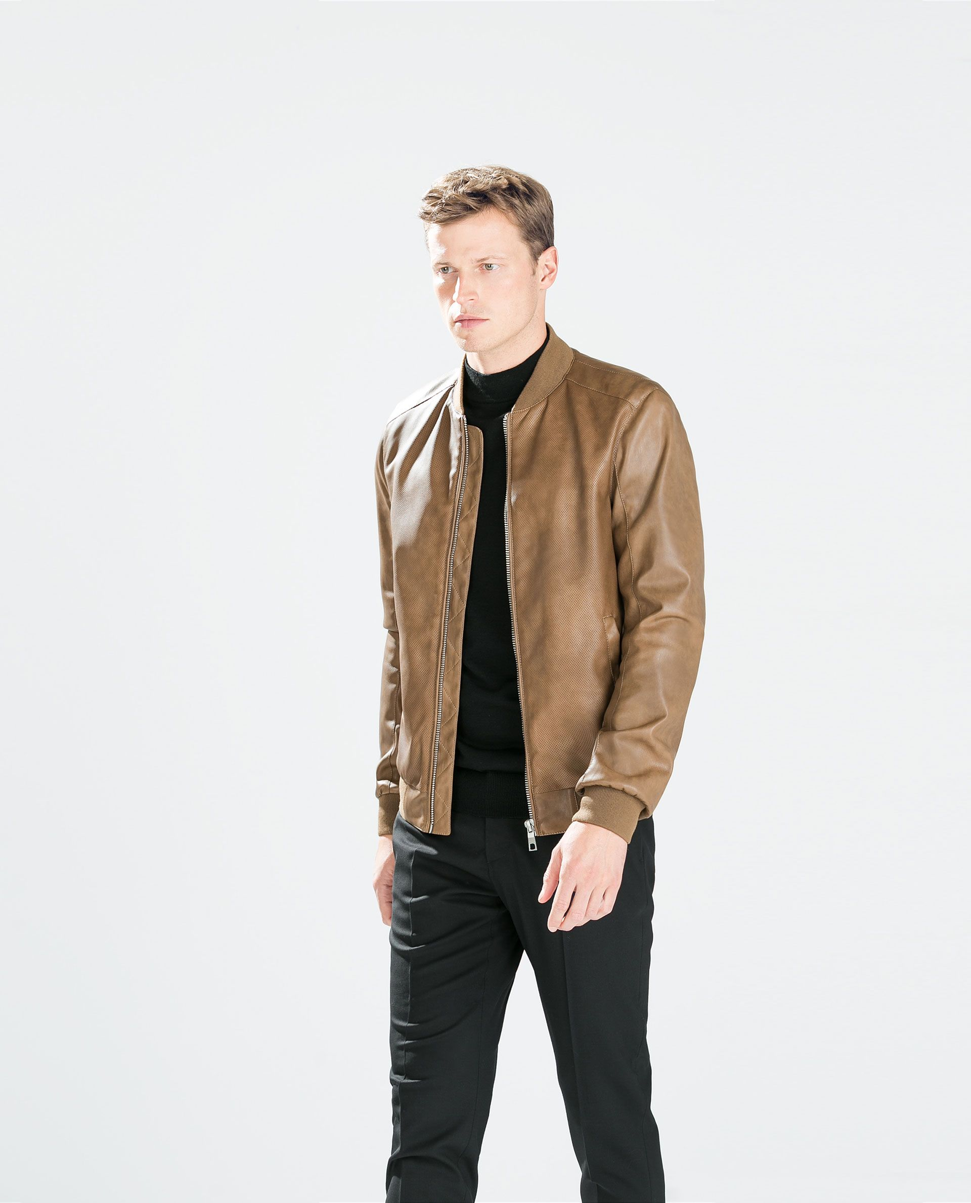 bb1f8aa789588 ZARA brown perforated faux leather jacket | Men's Style | Jackets ...