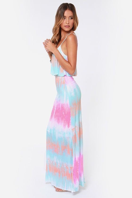 ♡ Spring - Tie Dye Maxi Dress - If you like my pins, please follow me and subscribe to my fashion channel on youtube! (It's free) Let me help u find all the things that u love from Pinterest! https://www.youtube.com/channel/UCCP8TXebOqQ_n_ouQfAfuXw