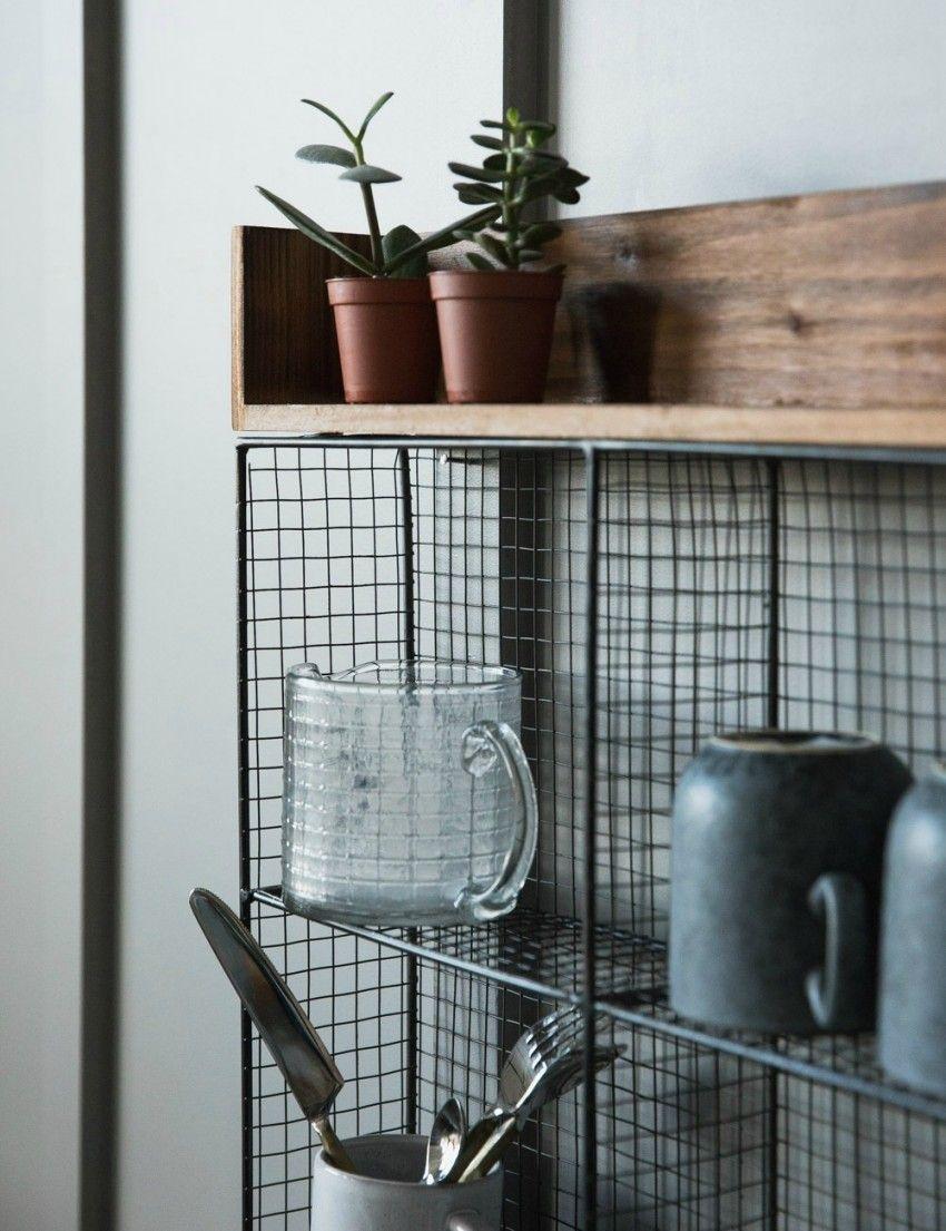 Wood and Wire Kitchen Storage Rack at Rose & Grey | Kitchen ...
