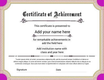 template certificate of achievement