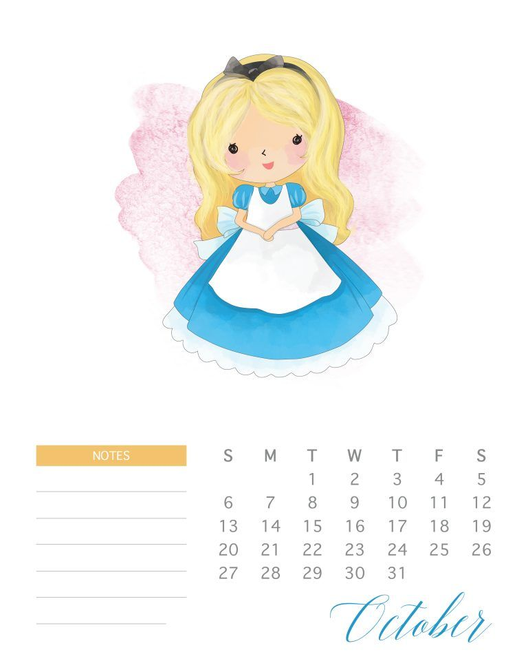 Free Printable 2019 Watercolor Princess Calendar Disney Calendar