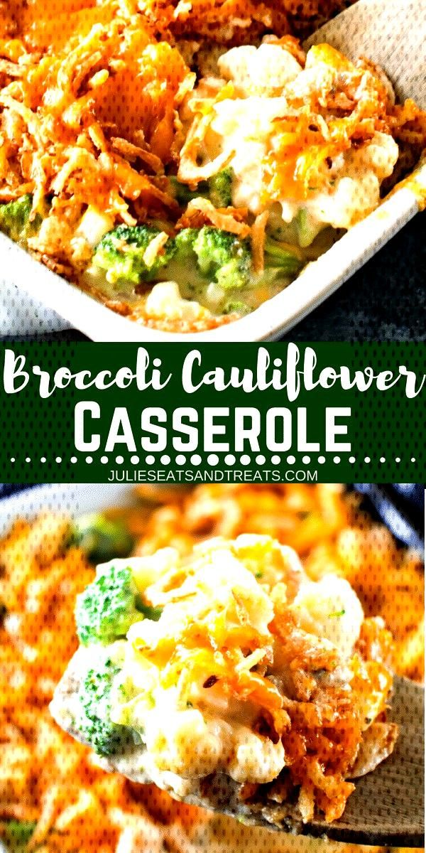 Looking for an easy side dish? This Cheesy Broccoli Cauliflower Casserole is the perfect side dish