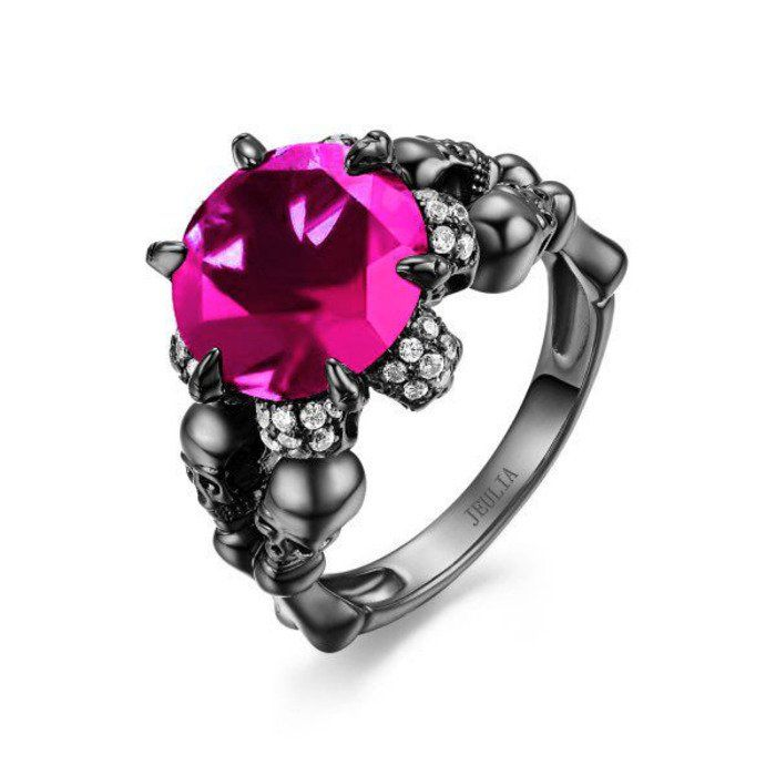 Round Cut Created Pink Sapphire Rhodium Plated Sterling Silver Four-Skull Designer Engagement Ring
