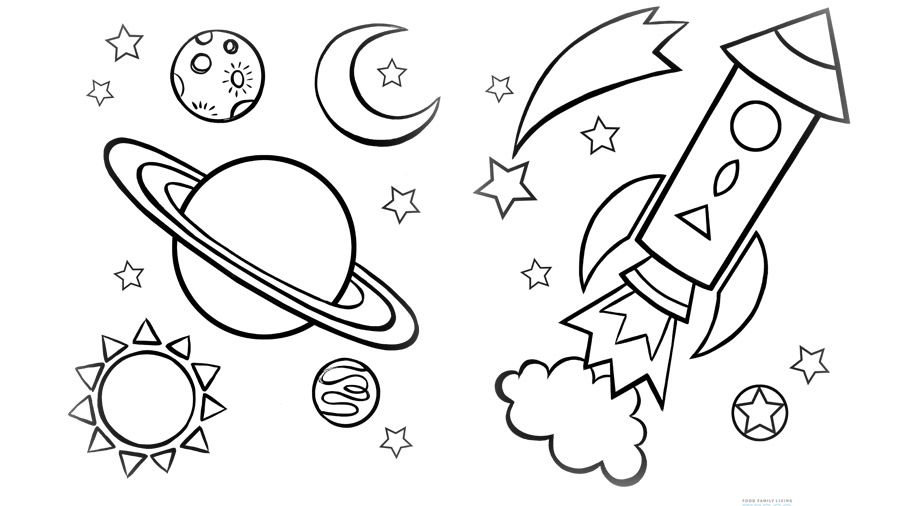 Coloring Space Printable Sheets Online