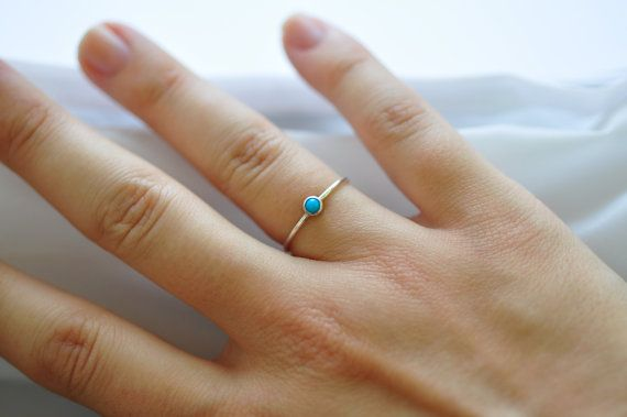 Turquoise Ring Gemstone - Simple Turquoise Ring- Dusk Blue Sterling Silver Turquoise Ring- Delicate Skinny Ring- December Birthstone