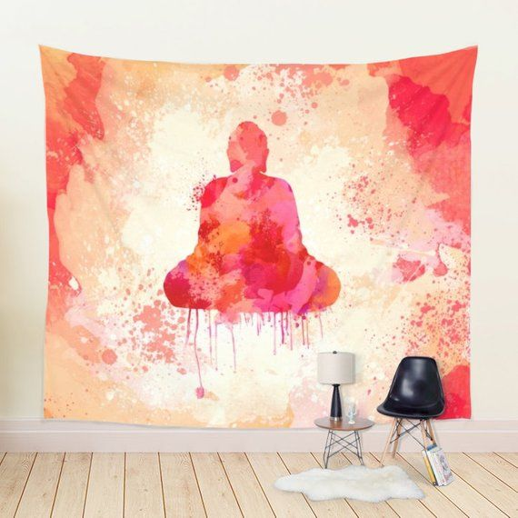 Buddha Tapestry In Red And Yellow Watercolor Tapestry Wall