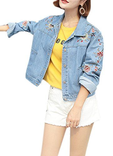 953a0c1e057 Tengfu Women Elegant Floral Embroidered Distressed Blue Loose Short Denim  Jacket