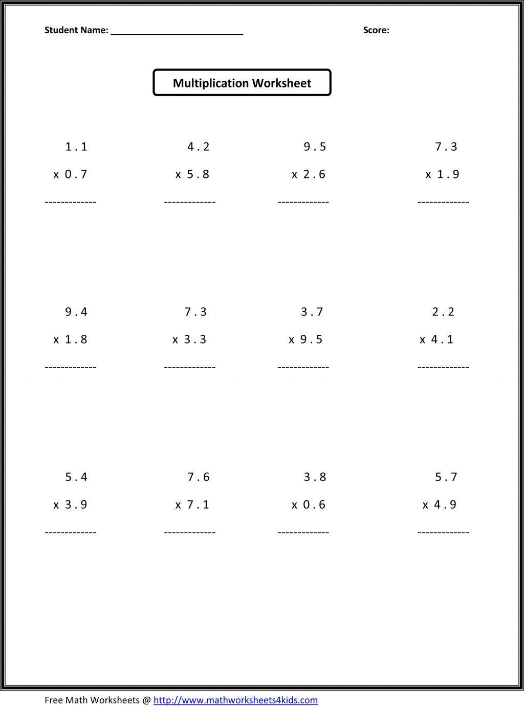 6th Grade Printable Math Worksheets In