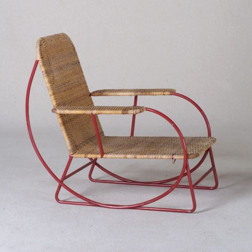 Anonymous; Cane and Enameled Tubular Metal Armchair, c1950.