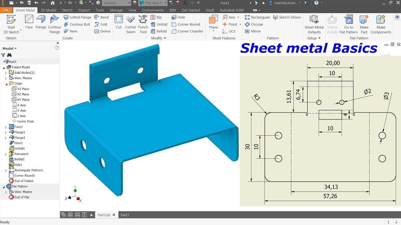 Autodesk Inventor Sheet Metal Tutorial Basics Youtube Autodesk Inventor Metal Furniture Design Solidworks Tutorial