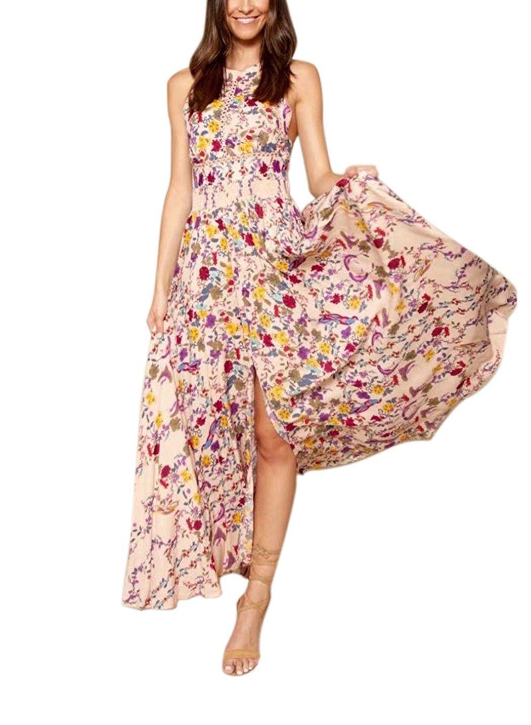 FFLMYUHULIU Women\'s Floral Off-shoulder Backless Beach Party Maxi ...