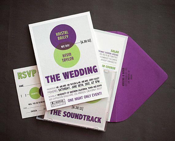 SAMPLE- Venn Diagram Invitation Set, vintage geek, movie poster - sample wedding brochure