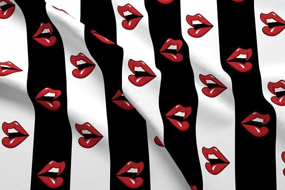 Striped Lips Fabric Pop Art Red Lips By Mia Valdez Black And