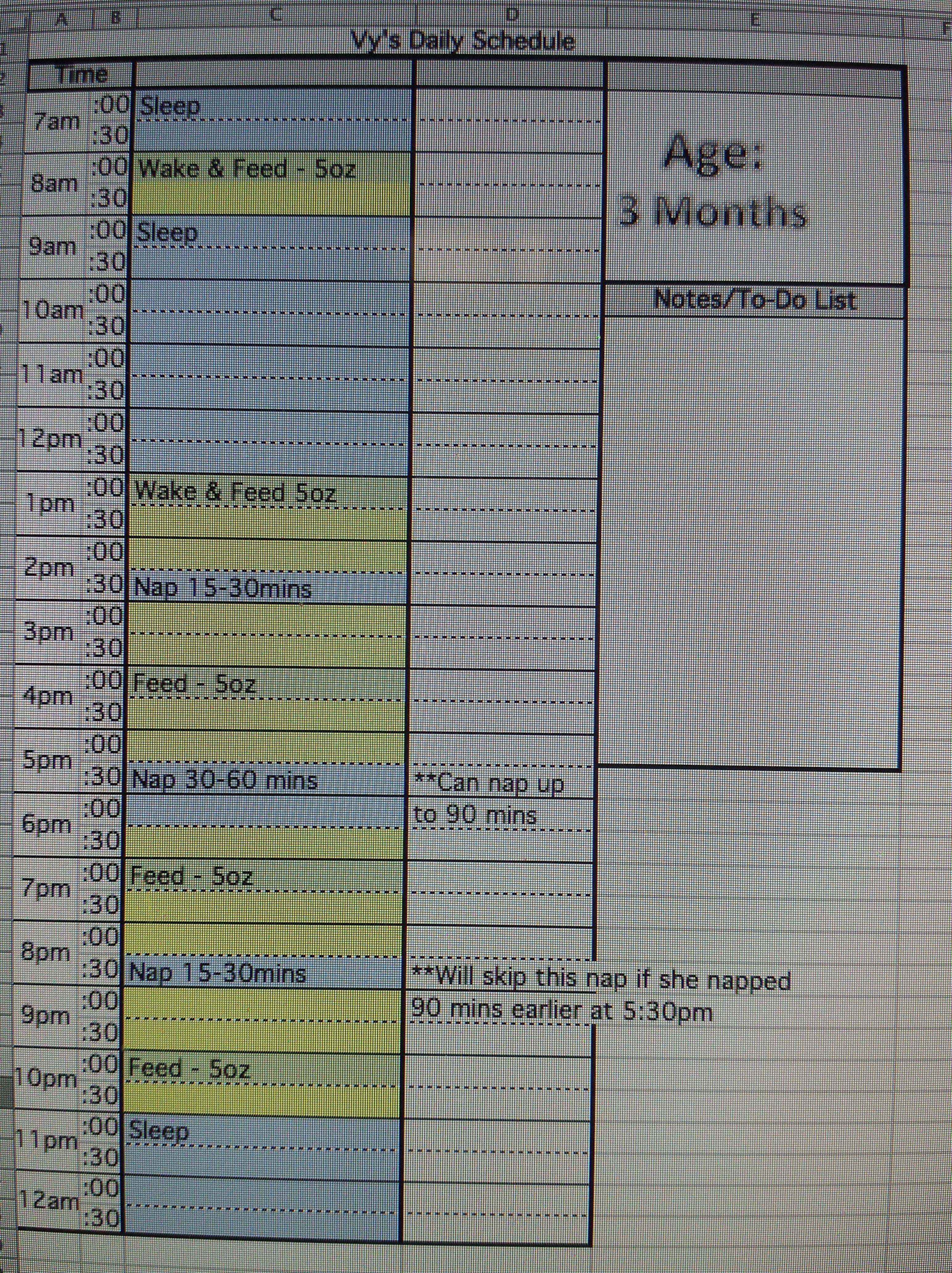 Schedule Series 3 Months