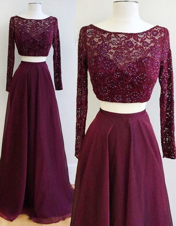 Two Piece Burgundy Bateau Long Sleeves Floor Length Prom Dress With Lace Beading Pm607 Prom Dresses Long With Sleeves Burgundy Prom Dress Prom Dresses With Sleeves