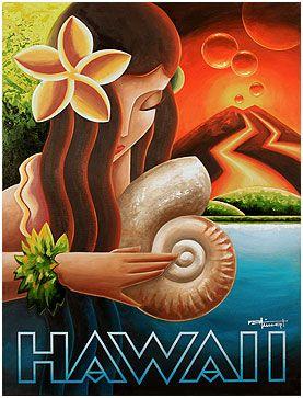 Hawaii ~ Art Deco Poster ~ mkungl studios | Pacific Paradise