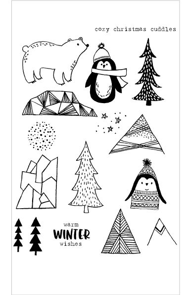 Flora and Fauna COZY CUDDLES PENGUIN Clear Stamp Set 20150 zoom image