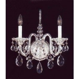2 Lights Traditional Crystal Wall Sconce In Polished Chrome Finish Wall Sconces Crystal Wall Sconces Wall Candles