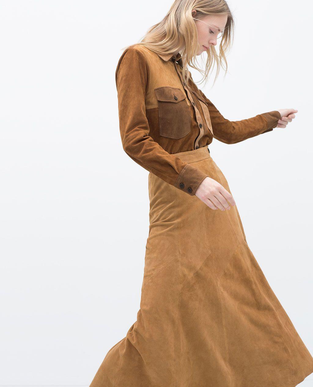 ZARA - WOMAN - LONG SUEDE SKIRT 2015 | Style | Pinterest | Suede ...