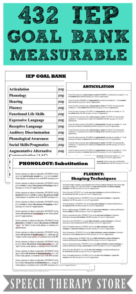 432 Free Measurable Iep Goals And Objectives Bank Speech Therapy Store Speech Therapy Resources School Speech Therapy Speech Therapy Materials