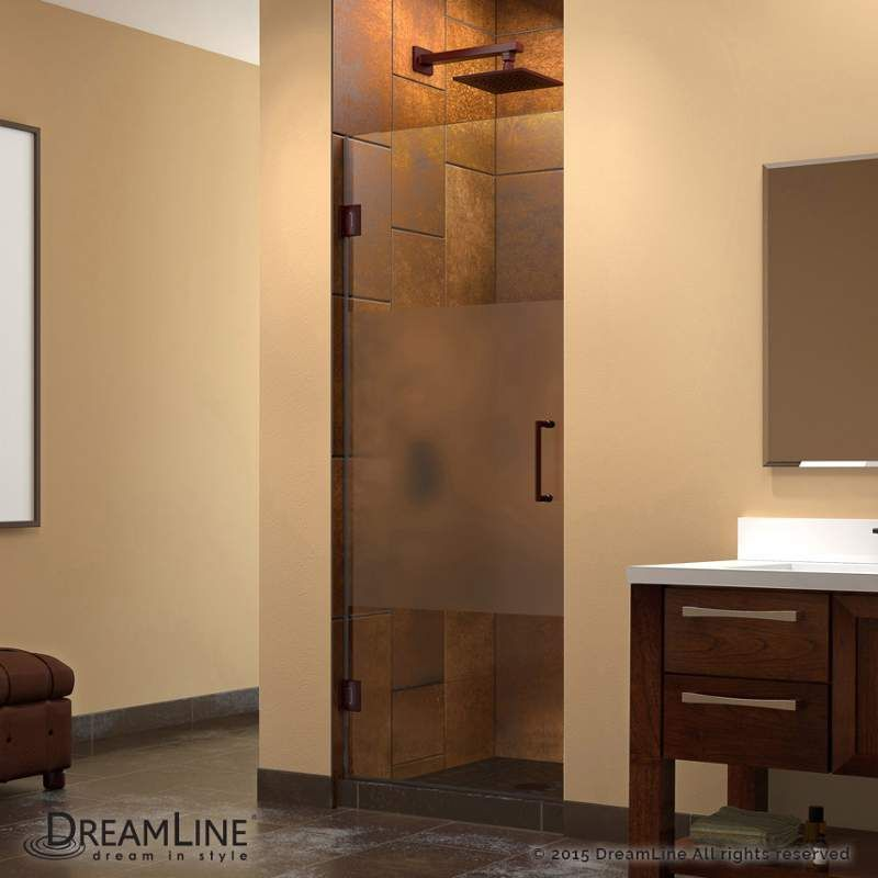 "DreamLine SHDR-20287210F-HFR Unidoor 72"" High x 28"" Wide Hinged Frameless Shower Oil Rubbed Bronze Showers Shower Doors Swing"