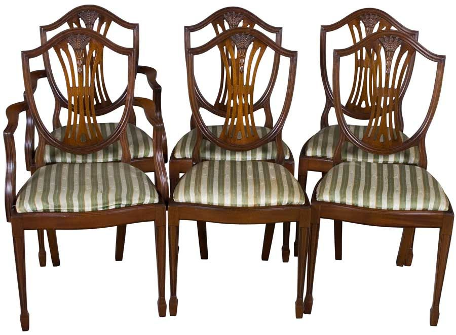 Bon Set Of Six Shield Back Dining Room Chairs. Hepplewhite Style, Wheat Sheaf  Carving.